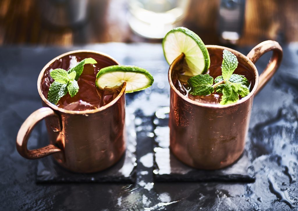 two moscow mules shot close up on slate